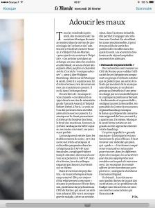 Le Monde 24 février 2014, Musicothérapie