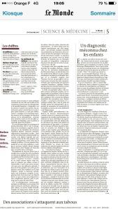 Le Monde, 24 juin 2015, Les Schizophrénies à Début Précoce